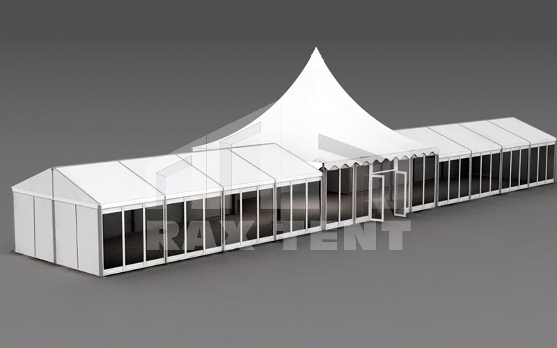large,long,white combination tent