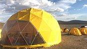 12m Dome tent with yellow PVC cover for glamping