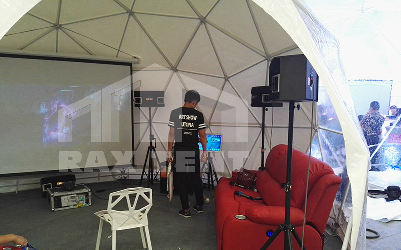 dome tent inside