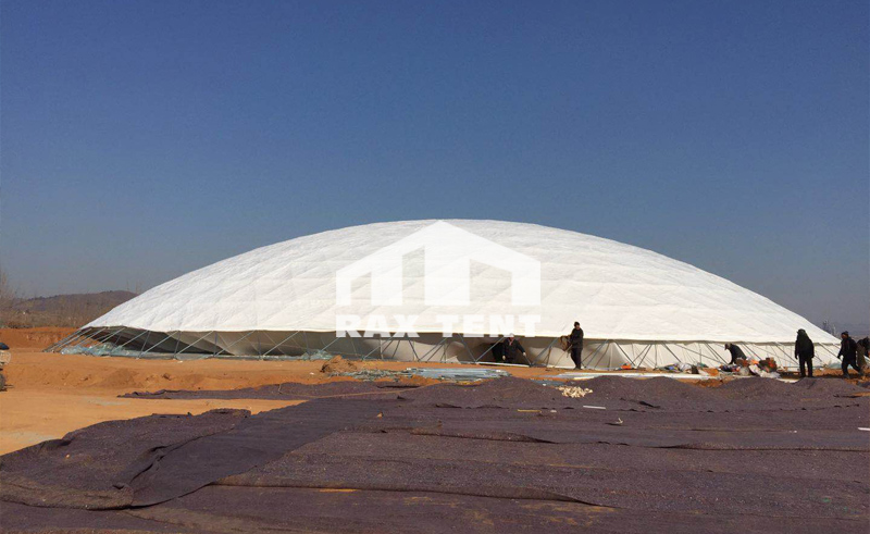 80m dome tent installation