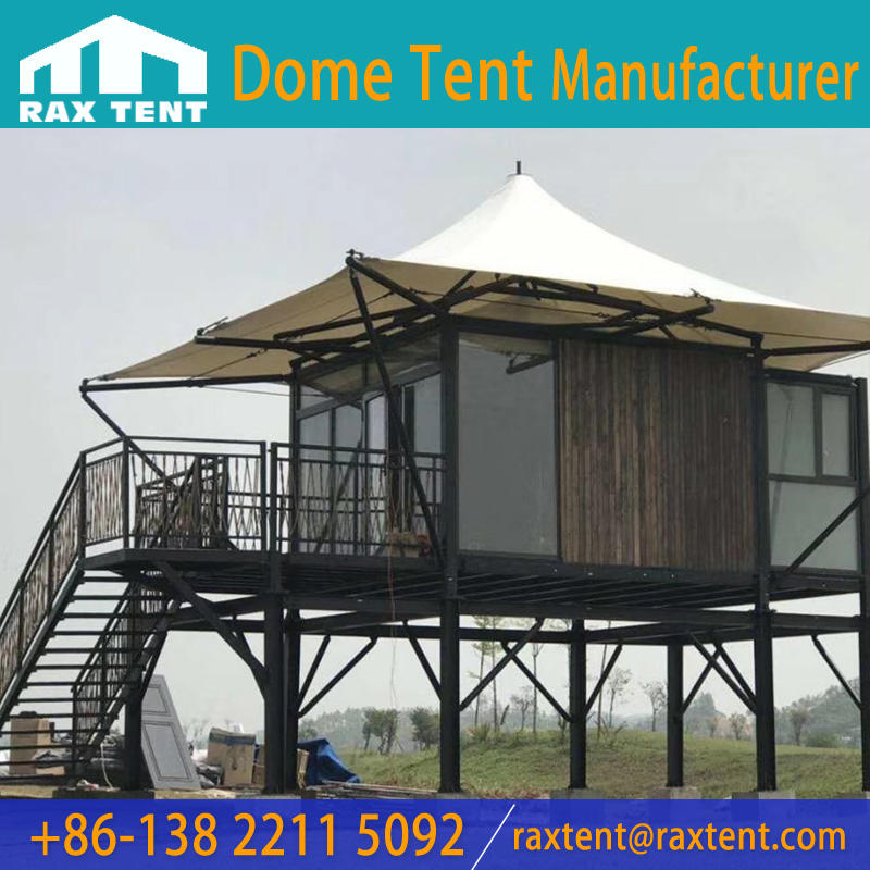6x6m Luxury Glamping Hotel Tent with Aluminum frame and Galss Wall