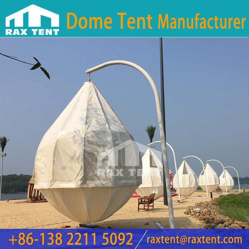 3m Glamping coconut tree tent with galanized frame and waterproof UV resistance Fabric