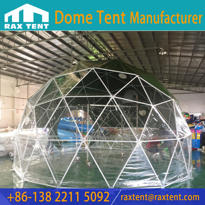 5.5m Glamping event dome tent with green waterproof PVC cover