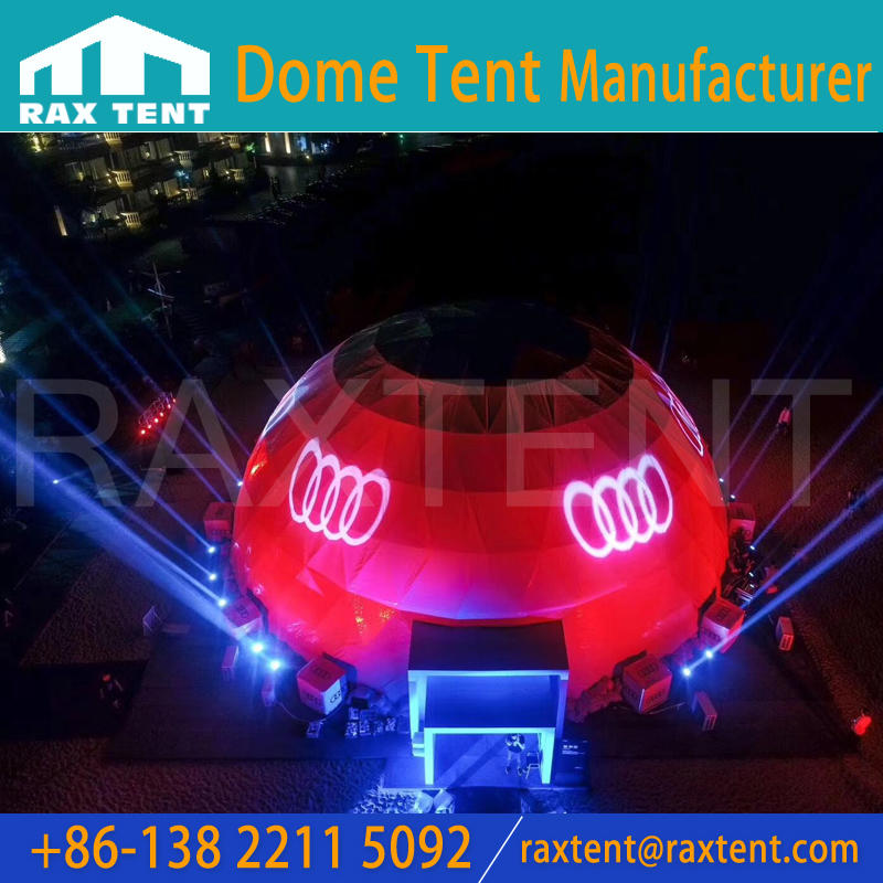 Raxtent 25m projection dome for Audi A8L conference,new product launch,big projection dome for big events