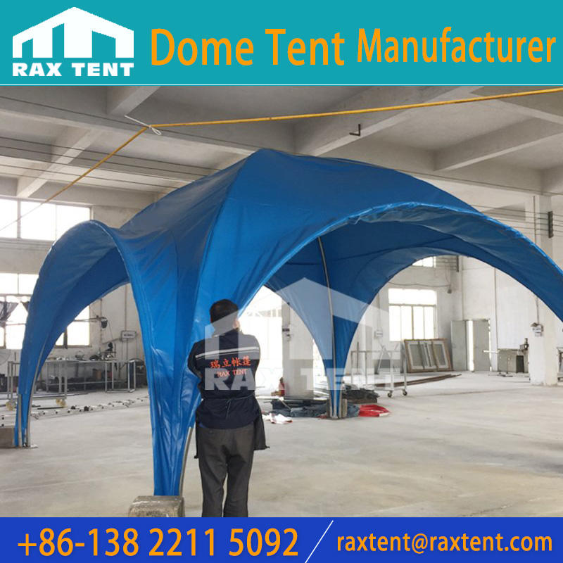 Blue cover of 5x5m round Dome tent with galvanized pipe frame for outdoor event, exhibition