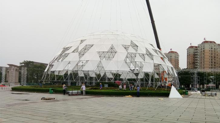 A Big Event!Move Raxtent 35m Massive Dome with Cranes