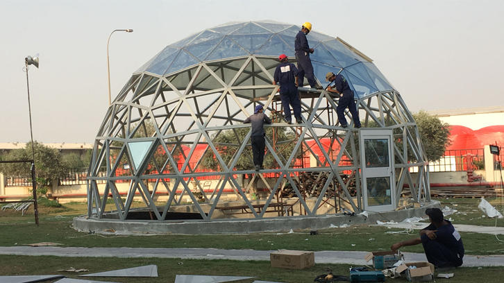 Build 10M Glass Dome with Double-deck Low-E Glass and Aluminum Frame