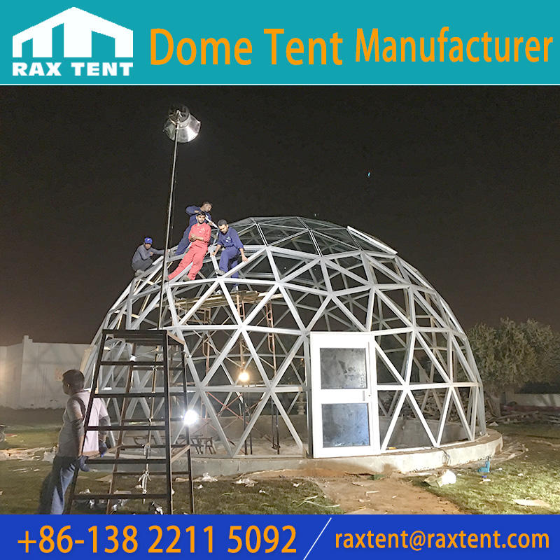 Raxtent 10 m glass dome house with aluminium alloy frame