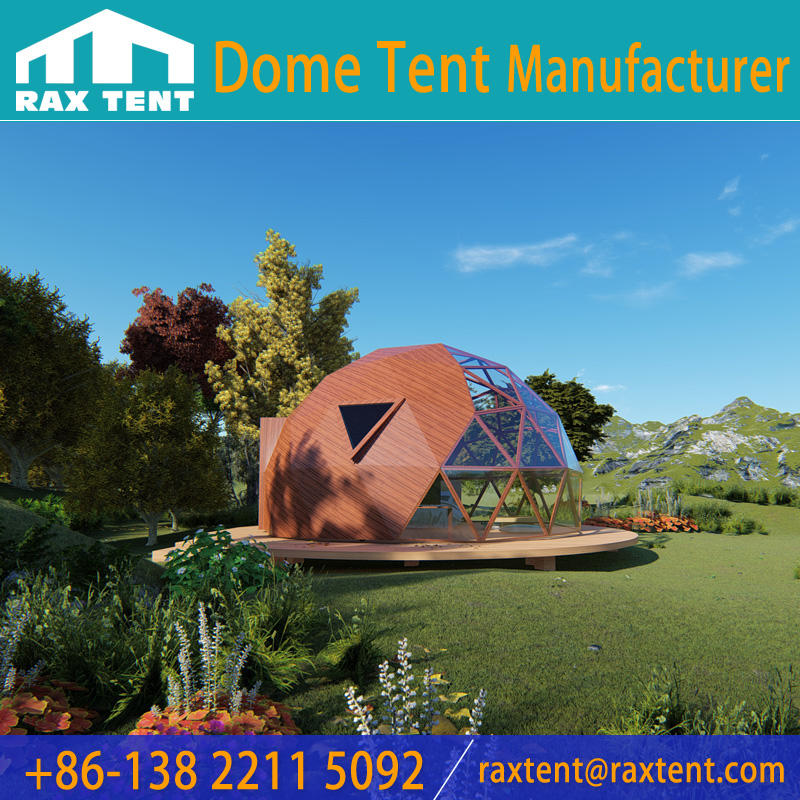 Fashionable 6M Glass Dome House Glass Igloo with Aluminum Frame of Wood Color and Low-e Glass for Glamping & Resort