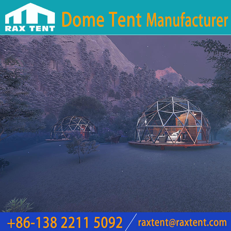 Special design geodesic glass dome house 6M glass igloo dome hotel for glamping and family resort to see the star and sky