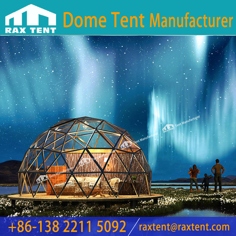 Chinese Manufacturer Fantastic Glass Dome Geodesic Dome House to See Aurora When Lying on The Bed in Domes