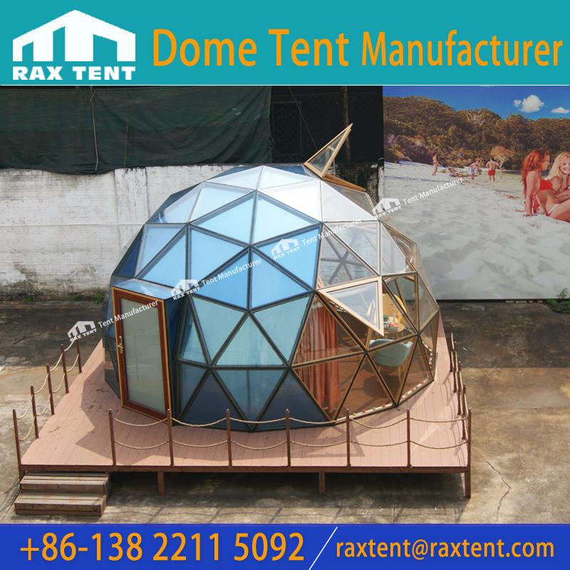 6M Glass Dome Tent House with Aluminum Alloy Frame and Tempered Glass for Hotel Room to See Stars and Aurora