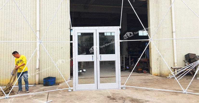 geodesic dome tent with glass door