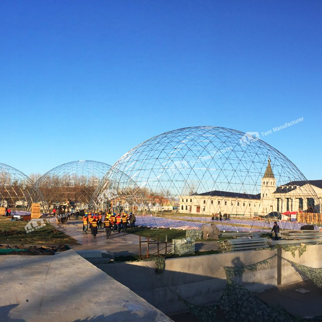 Geodesic dome tent structure